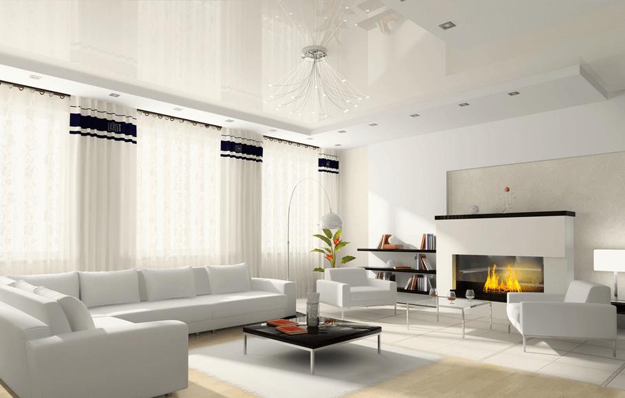 Living room. Stretch Ceiling.Favorite Design